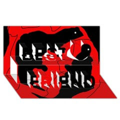 Black and red lizard  Best Friends 3D Greeting Card (8x4)