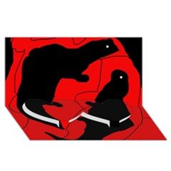 Black and red lizard  Twin Heart Bottom 3D Greeting Card (8x4)