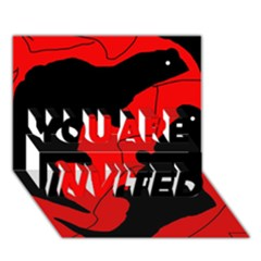 Black and red lizard  YOU ARE INVITED 3D Greeting Card (7x5)