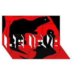 Black and red lizard  BELIEVE 3D Greeting Card (8x4)