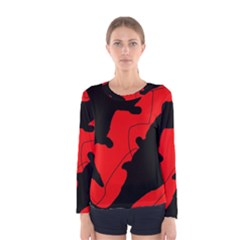 Black and red lizard  Women s Long Sleeve Tee