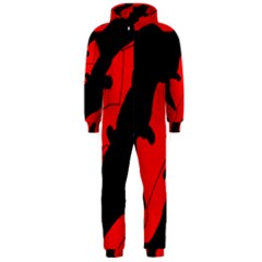 Black and red lizard  Hooded Jumpsuit (Men)