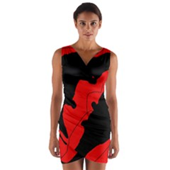 Black and red lizard  Wrap Front Bodycon Dress