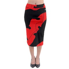 Black and red lizard  Midi Pencil Skirt