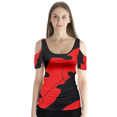 Black And Red Lizard  Butterfly Sleeve Cutout Tee