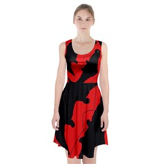 Black And Red Lizard  Racerback Midi Dress
