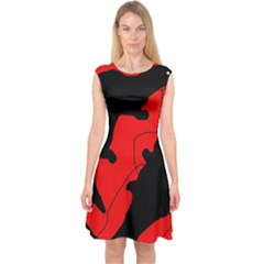Black and red lizard  Capsleeve Midi Dress