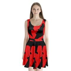 Black And Red Lizard  Split Back Mini Dress