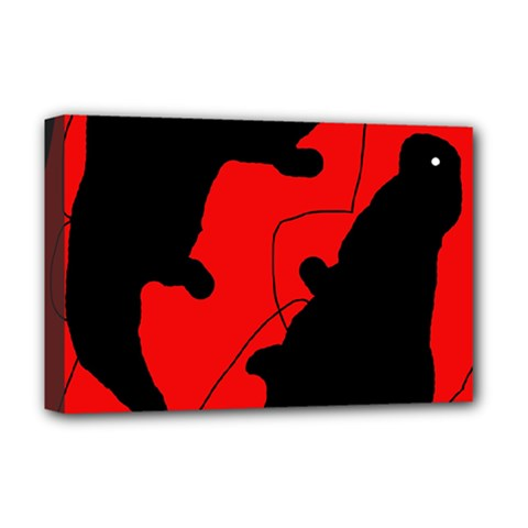 Black and red lizard  Deluxe Canvas 18  x 12