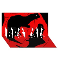 Black and red lizard  BEST SIS 3D Greeting Card (8x4)