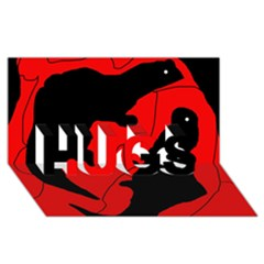 Black and red lizard  HUGS 3D Greeting Card (8x4)