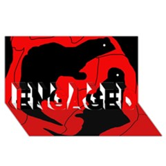 Black and red lizard  ENGAGED 3D Greeting Card (8x4)