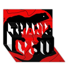 Black and red lizard  THANK YOU 3D Greeting Card (7x5)