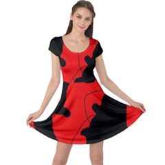 Black and red lizard  Cap Sleeve Dresses