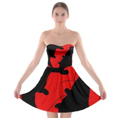 Black and red lizard  Strapless Dresses