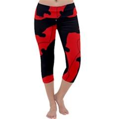 Black and red lizard  Capri Yoga Leggings