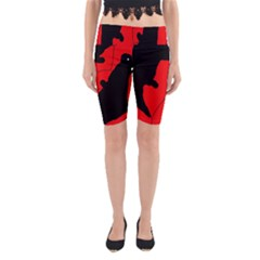 Black and red lizard  Yoga Cropped Leggings