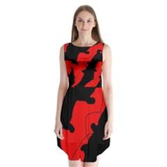 Black And Red Lizard  Sleeveless Chiffon Dress
