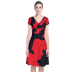 Black And Red Lizard  Short Sleeve Front Wrap Dress