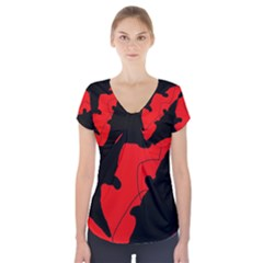 Black and red lizard  Short Sleeve Front Detail Top