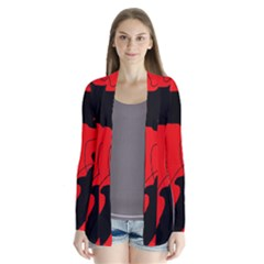 Black and red lizard  Drape Collar Cardigan