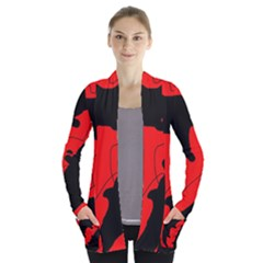 Black and red lizard  Women s Open Front Pockets Cardigan(P194)