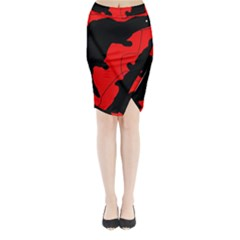 Black and red lizard  Midi Wrap Pencil Skirt
