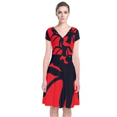 Abstract man Short Sleeve Front Wrap Dress
