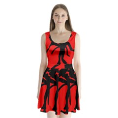 Abstract man Split Back Mini Dress