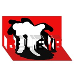 Red, black and white BELIEVE 3D Greeting Card (8x4)