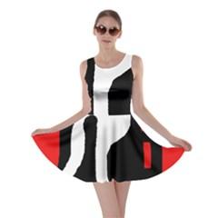 Red, black and white Skater Dress