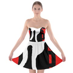 Red, black and white Strapless Dresses
