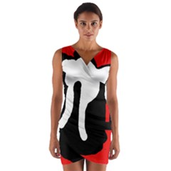Red, black and white Wrap Front Bodycon Dress
