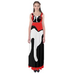 Red, Black And White Empire Waist Maxi Dress