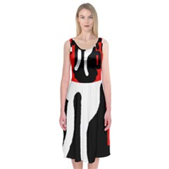 Red, black and white Midi Sleeveless Dress