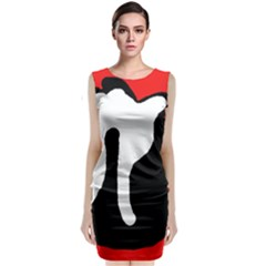 Red, Black And White Classic Sleeveless Midi Dress