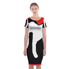 Red, Black And White Classic Short Sleeve Midi Dress