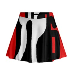 Red, black and white Mini Flare Skirt