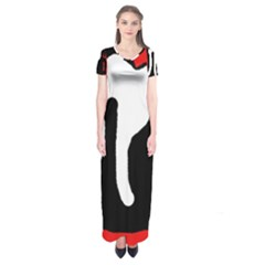Red, Black And White Short Sleeve Maxi Dress