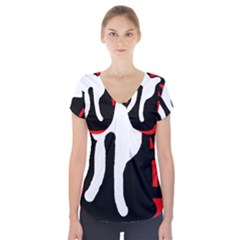 Red, black and white Short Sleeve Front Detail Top