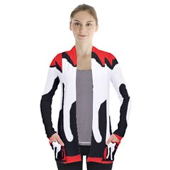 Red, black and white Women s Open Front Pockets Cardigan(P194)