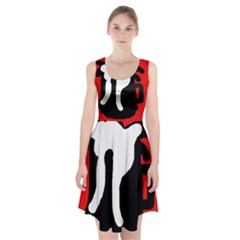 Red, black and white Racerback Midi Dress