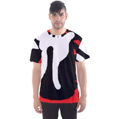 Red, black and white Men s Sport Mesh Tee