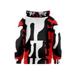 Red, black and white Kids  Pullover Hoodie