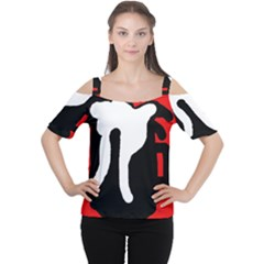 Red, Black And White Women s Cutout Shoulder Tee