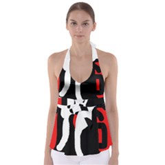 Red, black and white Babydoll Tankini Top