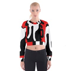 Red, black and white Women s Cropped Sweatshirt