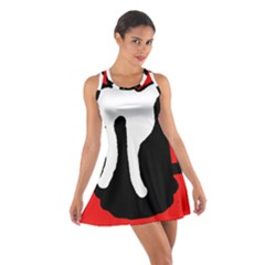 Red, black and white Cotton Racerback Dress