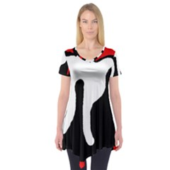 Red, black and white Short Sleeve Tunic