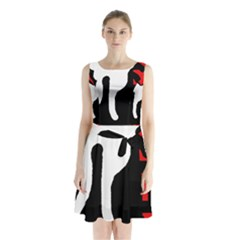Red, black and white Sleeveless Waist Tie Dress